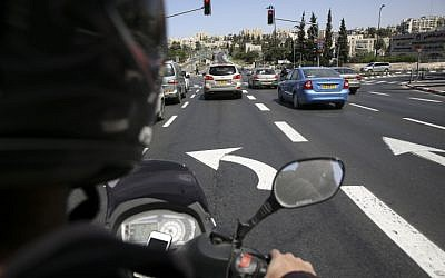 Illustrative: A motorbike rider. (Nati Shohat/ Flash90)