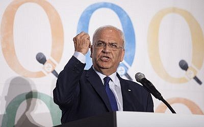 Top Palestinian negotiator Saeb Erekat speaks at the Haaretz and New Israel Fund conference in New York City on December 13, 2015. (Amir Levy/Flash90)