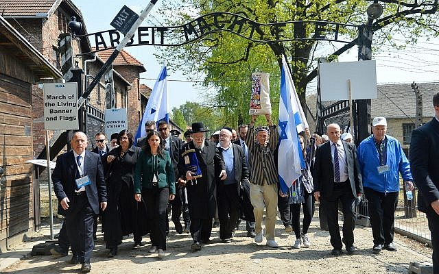 A March of the Living delegation at the Auschwitz-Birkenau camp site in Poland on May 5, 2016. (Yossi Zeliger/Flash90)