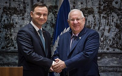 File: President Reuven Rivlin meets with Polish President Andrzej Duda, during an official welcome ceremony at the President's residence in Jerusalem, on January 17, 2017. (Hadas Parush/Flash90)