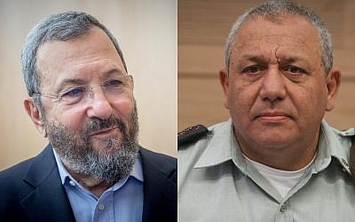 Former Israeli prime minister Ehud Barak, left, and IDF Chief of Staff Gadi Eisenkot, right. (Yonatan Sindel/Isaac Harari/Flash90)