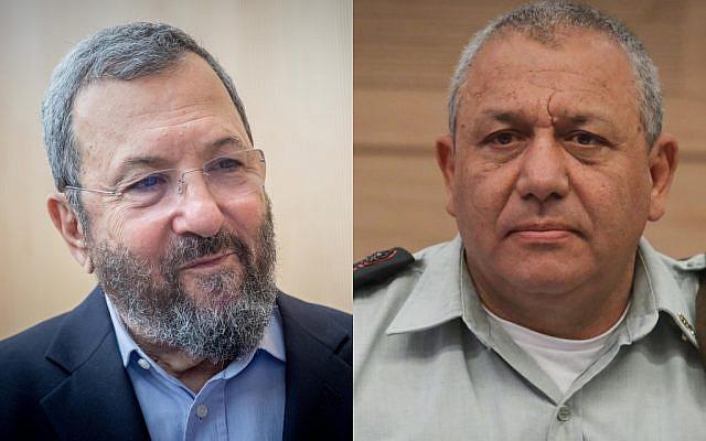 Former Israeli prime minister Ehud Barak, left, and IDF Chief of Staff Gadi Eisenkot, right. (Yonatan Sindel/Isaac Harari/Flash90)