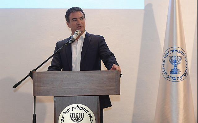 Mossad chief Yossi Cohen speaks at the launch event for intelligence agency's Libertad Fund on  June 27, 2017. (Gershom/GPO)