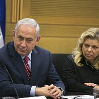 Prime Minister Benjamin Netanyahu (left) and his wife Sara Netanyahu at the Knesset in Jerusalem, June 28, 2017. (Olivier Fitoussi/Pool)
