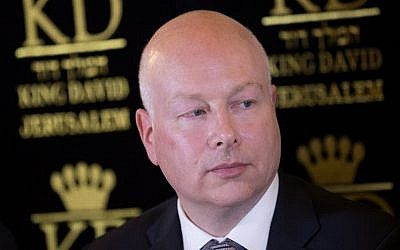 US Special Envoy Jason Greenblatt attends a press conference regarding the water agreement between Israel and the Palestinian Authority, on July 13, 2017. (Yonatan Sindel/ Flash90/File)