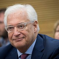 American Ambassador to Israel David Friedman attends the lobby for Israel-US relations at the Knesset on July 25, 2017. (Yonatan Sindel/Flash90)