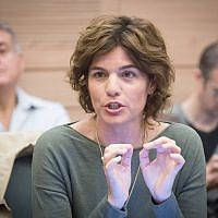 Meretz MK Tamar Zandberg attends an Interior Affairs Committee meeting at the Knesset in Jerusalem, November 30, 2017. (Miriam Alster/Flash90)