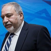 Defense Minister Avigdor Liberman arrives at the weekly cabinet meeting at the Prime Minister's Office in Jerusalem on December 31, 2017. (Hadas Parush/Flash90)