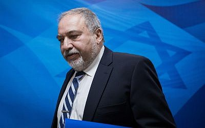 Defense Minister Avigdor Liberman arrives at the weekly government meeting at the Prime Minister's Office in Jerusalem, on December 31, 2017. (Hadas Parush/Flash90)
