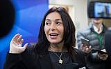 Culture Minister Miri Regev arrives at the weekly cabinet meeting at the Prime Minister's Office in Jerusalem, on December 31, 2017. (Hadas Parush/Flash90)