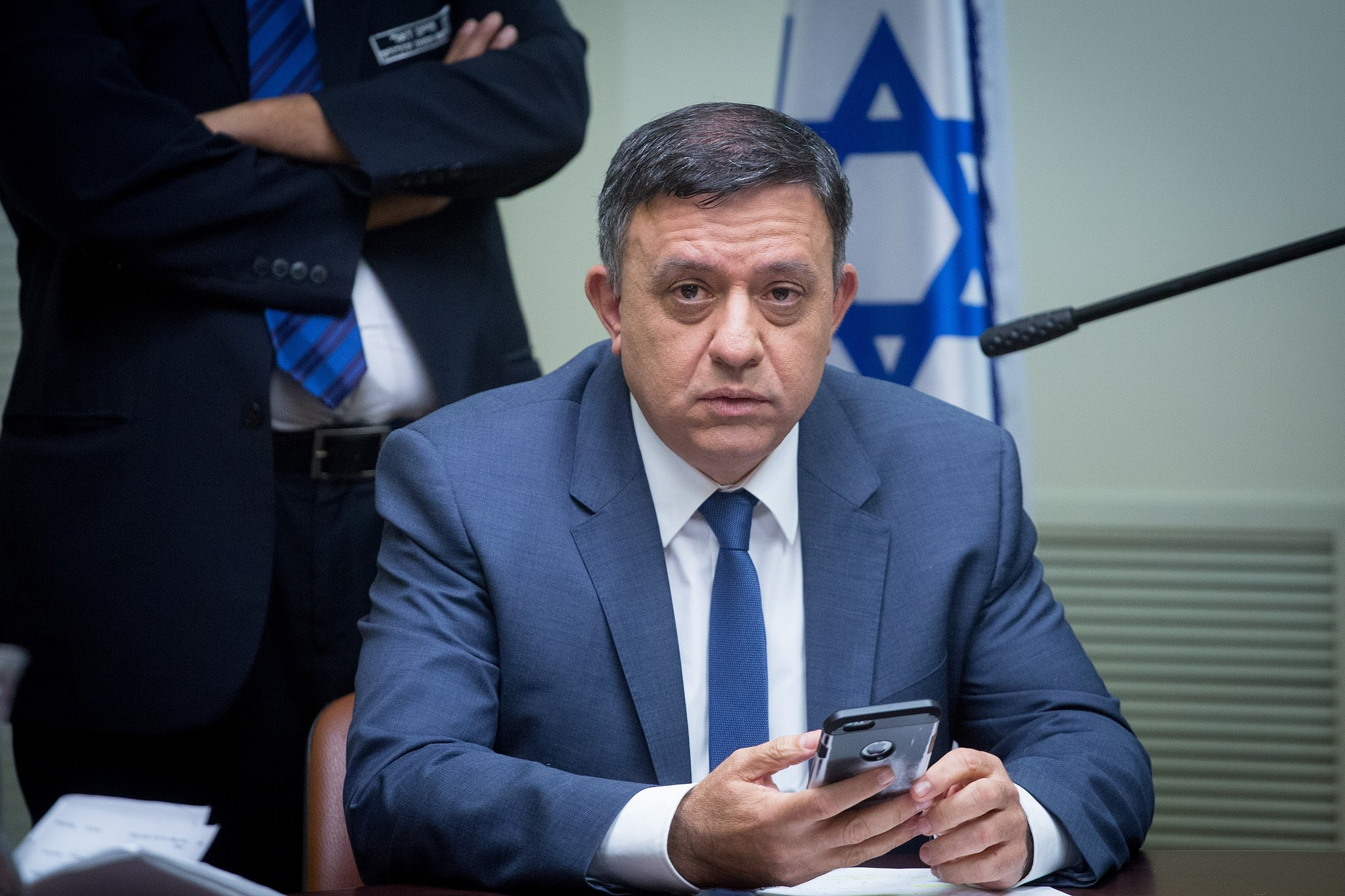 Head of the Zionist Union faction Avi Gabbay leads a faction meeting at the Knesset