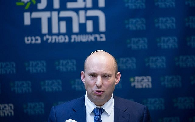 Head of the Jewish Home party Naftali Bennett leads a faction meeting at the Knesset in Jerusalem on January 1, 2018. (Miriam Alster/FLASH90)