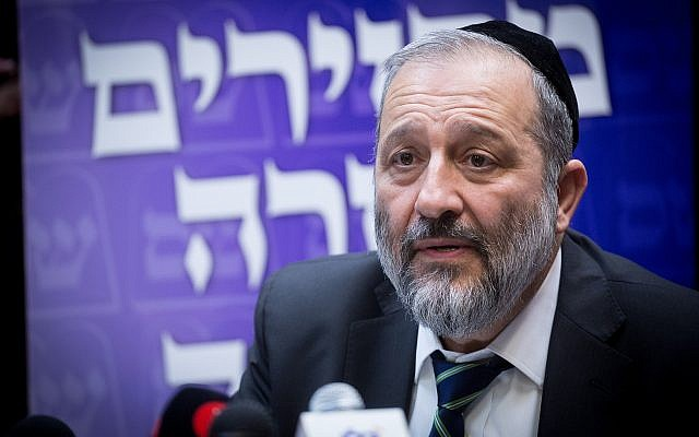 Interior Minister Aryeh Deri leads a Shas faction meeting at the Knesset, January 1, 2018. (Miriam Alster/Flash90)