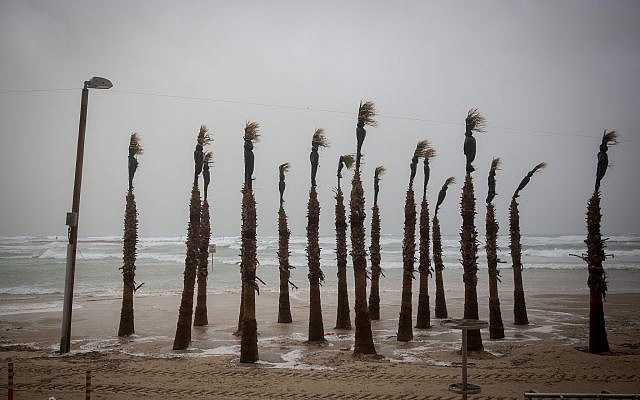 The beach in Tel Aviv on a stormy winter day in Tel Aviv, January 05, 2018. (Miriam Alster/FLASH90)