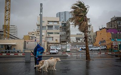 The beach in Tel Aviv on a stormy winter day in Tel Aviv, January 5, 2018. (Miriam Alster/ FLASH90)