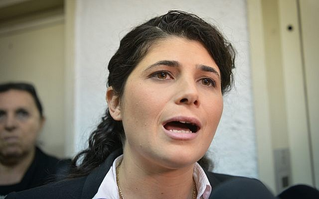 Likud MK Sharren Haskel arrives for a hearing at the party's top internal court in Tel Aviv on January 8, 2018. (Flash90)