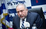 Defense Minister Avigdor Liberman leads a Yisrael Beytenu faction meeting at the Knesset on January 8, 2018 (Miriam Alster/Flash90)