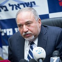 Defense Minister Avigdor Liberman leads a Yisrael Beytenu faction meeting at the Knesset on January 08, 2018 (Miriam Alster/Flash90)