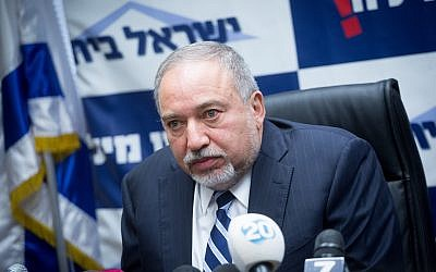 Defense Minister Avigdor Liberman and head of the Yisrael Beytenu party leads a faction meeting at the Knesset on January 8, 2018. (Miriam Alster/Flash90)