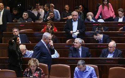 Israeli lawmakers in the Knesset on January 8, 2018. (Yonatan Sindel/Flash90)