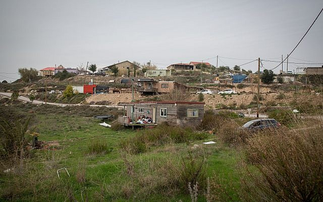 The West Bank outpost of Havat Gilad, January 10, 2018. (Miriam Alster/Flash90)