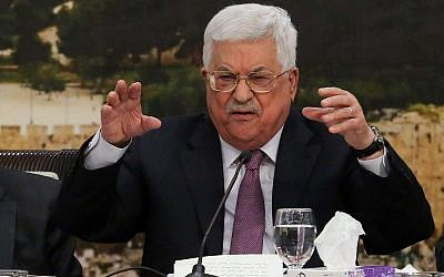 Palestinian Authority President Mahmoud Abbas addresses the PLO Central Committee in the West Bank city of Ramallah on January 14, 2018. (Flash90)