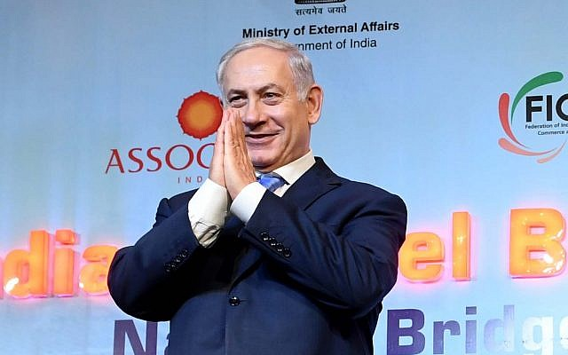 Prime Minister Benjamin Netanyahu and Indian Prime Minister Narendra Modi (unseen) at an Israeli-Indian Economic Conference in New Delhi, India on January 15, 2018 (Avi Ohayon/GPO)
