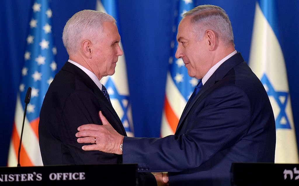 US Vice President Mike Pence and Prime Minister Benjamin Netanyahu at the Prime Minister's Residence, in Jerusalem, January 22, 2018. (Avi Ohayon/GPO)