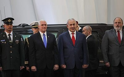 US Vice President Mike Pence is welcomed by Prime Minister Benjamin Netanyahu at the Prime Minister's Office in Jerusalem, January 22, 2018. (Hadas Parush/Flash90)