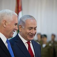 US Vice President Mike Pence is welcomed by Israeli Prime Minister Benjamin Netanyahu at the Prime Minister's Office in Jerusalem, on January 22, 2018. (Hadas Parush/Flash90