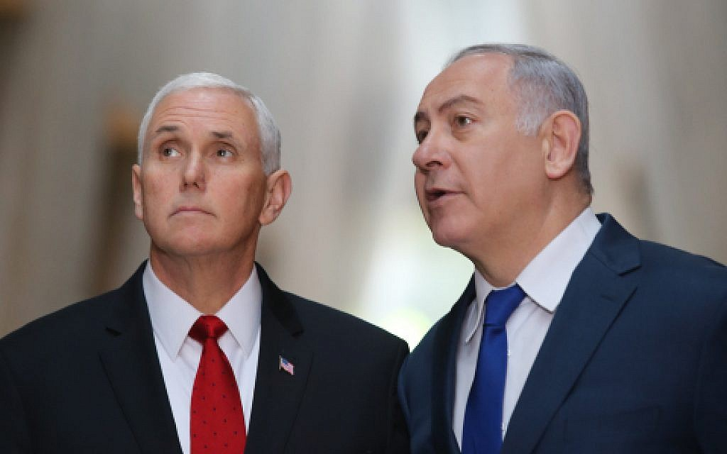 US Vice President Mike Pence with Israeli Prime Minister Benjamin Netanyahu during a visit to the Yad Vashem Holocaust Memorial Museum in Jerusalem, on January 23, 2018. (Alex Kolomoisky/POOL)