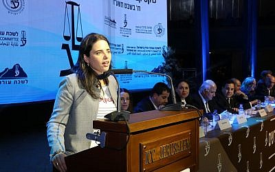 Justice Minister Ayelet Shaked seen at a ceremony for newly graduated lawyers at the Jerusalem Congress Center, January 24, 2018. (Yossi Zamir/Flash 90)