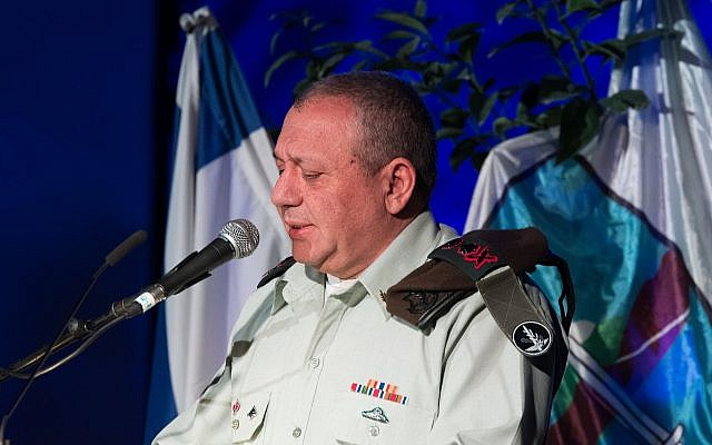 IDF Chief of Staff Gadi Eisenkot speaks during a ceremony marking the anniversary of the 1997 helicopter disaster on January 30, 2018. (Basel Awidat/Flash90)