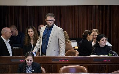 Likud MK Oren Hazan, center, in Knesset plenum in Jerusalem, January 31, 2018. (Hadas Parush/Flash90)