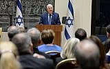 President Reuven Rivlin speaks to Israeli diplomats at the president's residence in Jerusalem, on January 22, 2018. (Mark Neiman/GPO)