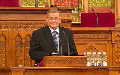 Screen capture from video of deputy speaker of the National Assembly of the Hungarian parliament Sandor Lezsak. (YouTube)