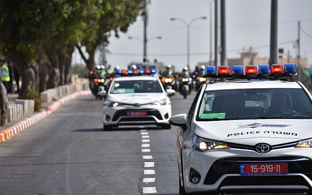 This photo released on Sunday, January 21, 2018 shows preparations by Israeli police ahead of US Vice President Mike Pence's two-day visit to the country, taking place mainly in Jerusalem. (Photo credit: Israel Police)