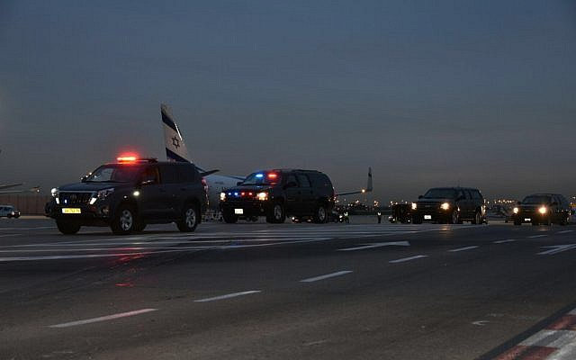 A convoy meant to carry Mike Pence to Jerusalem waiting at Ben-Gurion airport on January 21, 2018. (Israel Police)