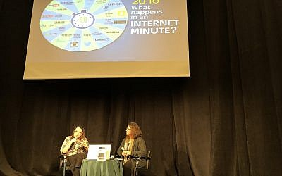 Sivan Rahav-Meir (left) and Amanda Borschel-Dan discuss how Rahav-Meir uses social media to disseminate her thoughts and writings about Torah (Jessica Steinberg/Times of Israel)