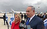 Prime Minister Benjamin Netanyahu, and his wife Sara Netanyahu, at Ben Gurion airport on January 23, 2018. (Jacob Magid/Times of Israel)