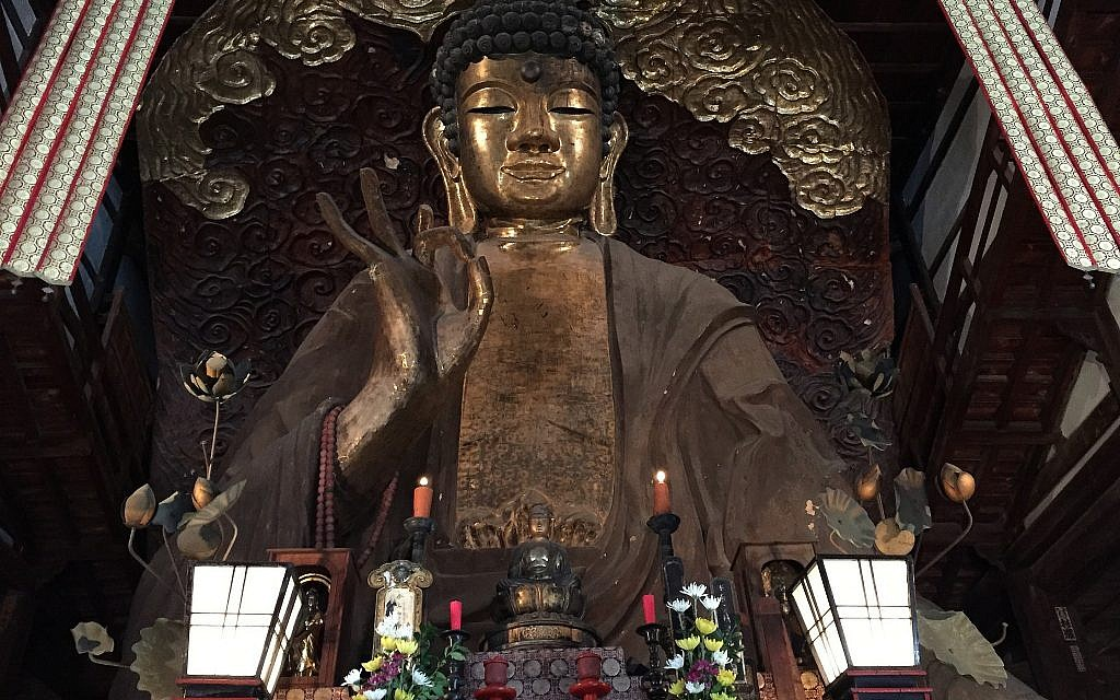 One of the top five largest Buddhas of Japan is found in Gifu City, Japan. (Amanda Borschel-Dan/Times of Israel)