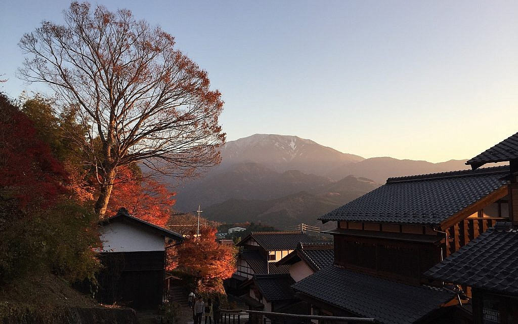 The sun sets in Japan's historic Magome post town, November 2017. (Amanda Borschel-Dan/Times of Israel)