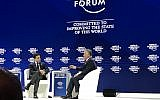 Jordan's King Abdullah (R) speaks with CNN's Fareed Zakaria at the World Economic Forum in Davos, Switzerland, on January 24, 2018. (Jacob Magid/Times of Israel)