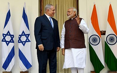 Prime Minister Benjamin Netanyahu and Indian Prime Minister Narendra Modi at a joint press conference at the president's house in New Delhi, India, January 15, 2018.  (Avi Ohayon/GPO)