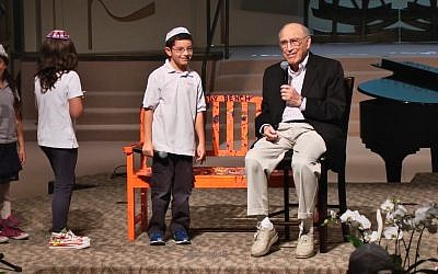 Screen capture of Rabbi Isaiah Zeldin, seated, during a Stephen Wise Temple community event. (YouTube)