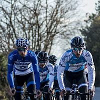 Members of the Israel Cycling Academy, which received one of the Giro d'Italia wild cards to participate in the May 4, 2018, race in Israel (Courtesy Noa Arnon)