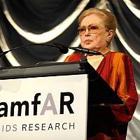 Mathilde Krim speaking at the amfAR New York Gala in New York, Feb. 10, 2010. (Larry Busacca/Getty Images via JTA)