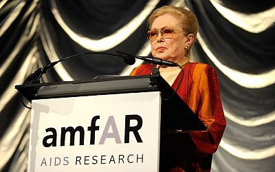 Mathilde Krim speaking at the amfAR New York Gala in New York, Feb. 10, 2010. (Larry Busacca/Getty Images via JTA)