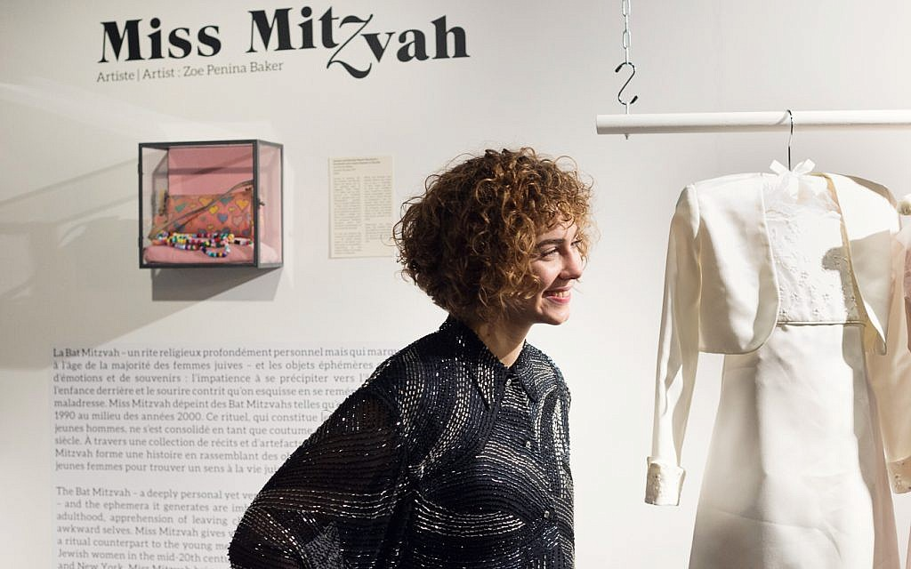 Artist and podcast creator Zoe Penina Baker at her 'Miss Mitzvah' exhibition at the Museum of Jewish Montreal. The exhibit will be on display through January 20, 2018. (courtesy)