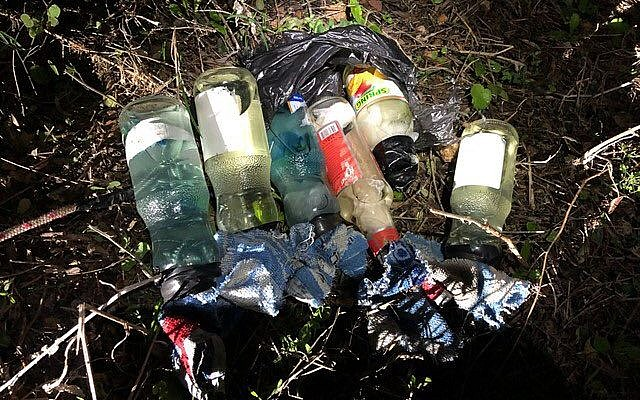 Illustrative: Molotov cocktails found near the West Bank settlement of Itamar, December 29, 2018. (IDF spokesperson)